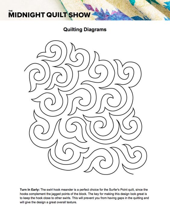 free quilting diagrams for the surfers point quilt