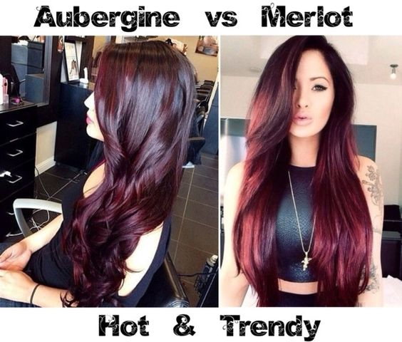 hot trendy aubergine vs merlot hair color wein haarfarbe und haar. Black Bedroom Furniture Sets. Home Design Ideas