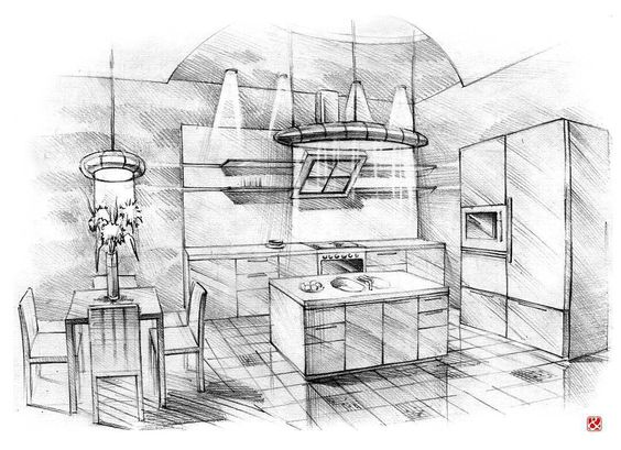Lovely #sketch of kitchen interior by @drawedraw.  Tag #sketchlane to be featured!  #sketchbook #instadaily  #instalike #beautiful #art #artist #draw #pen #pencil #paper #bestoftheday #sketch_daily #architecture #architect #archdaily #archilovers #illustration#architecturestudent #interiordesign #design #interior #furniture #modern #urban #kitchen by sketchlane