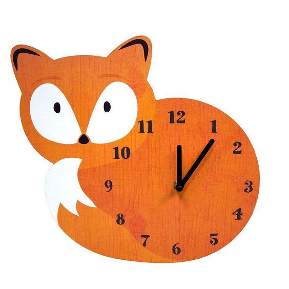 Woodland Fox Wall Clock, Orange