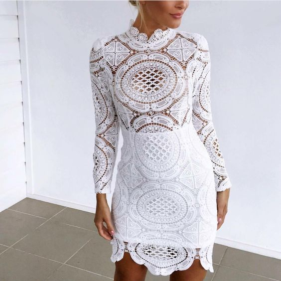 White Long Sleeves Crochet Dress via UrbanChic. Click on the image to see more!