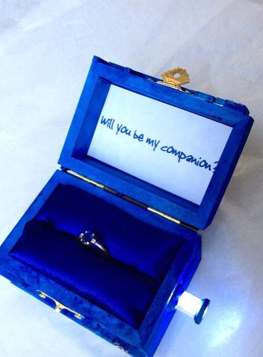 Cute Royal Blue Lighted Engagement Ring Box In 2020 Wedding Ring Proposal Box Wedding Ring Box Doctor Who Wedding