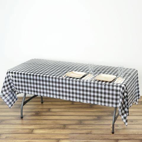 Buffalo Plaid Tablecloth 54 X 108 Rectangular Spill Proof Tablecloths White Black Disposable Checkered Plastic Vinyl Waterproof Tablecloths In 2020 Plaid Tablecloth White Table Cloth Waterproof Tablecloth