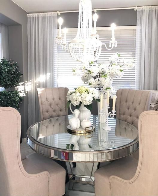 Request Mirrored Table Living Room Round Dining Room Dinning Room Decor