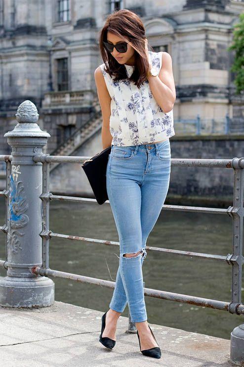 Denim Jeans Top Crop Blouse