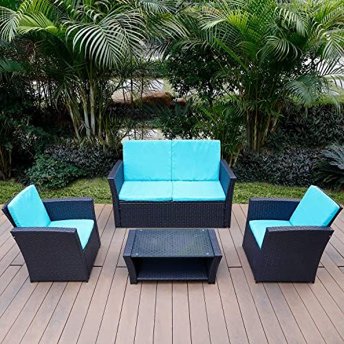 New Tusy 5 Piece Patio Outdoor Furniture Set All Weather Rattan Chair Conversation Sets Sofa Table Indoor Outdoor Sofas Washable Blue Couch Cushion Online Sh In 2020 Outdoor Furniture Sets Outdoor