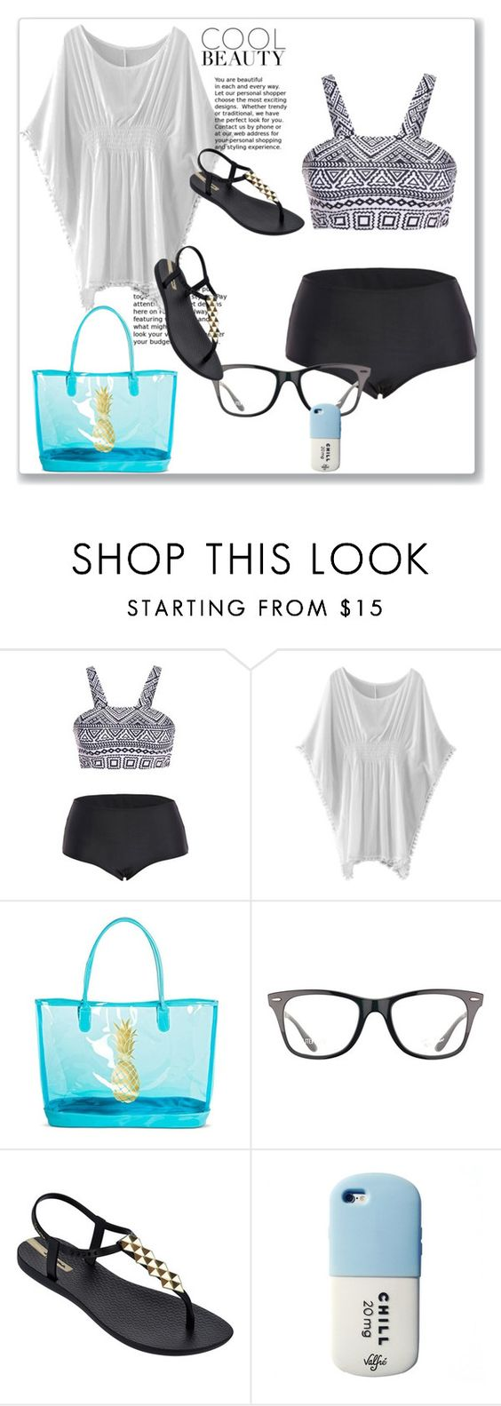 """Christmas on the beach"" by explorer-14743076013 ❤ liked on Polyvore featuring WithChic, Target, Ray-Ban, IPANEMA and Valfré"