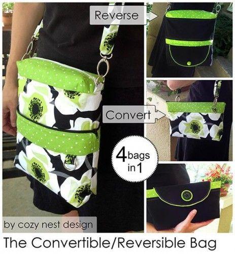 Convertible Reversível 4-em-1 Bolsa de costura PDF padrão do Ninho design acolhedor + 11 mais sacos Conversíveis Sew