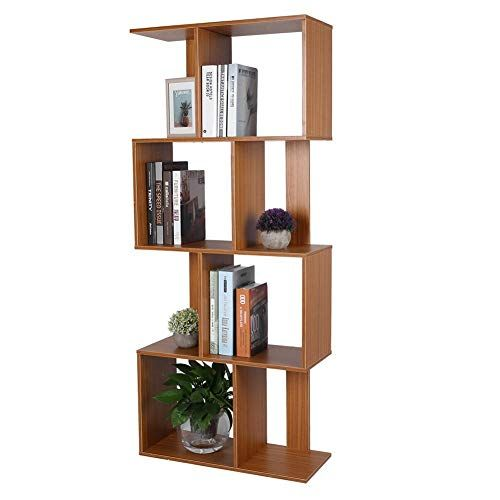 Robtle 4 Tier Geometric Bookcase Wooden Book Display Shelf And Room Divider Freestanding Decorative Storage Shelvin Decorative Storage Shelves Display Shelves