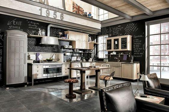 Vintage Küche aus Holz und Stahl und mit oigineller Tafelwand - geraumige und helle loft wohnung im herzen der grosstadt