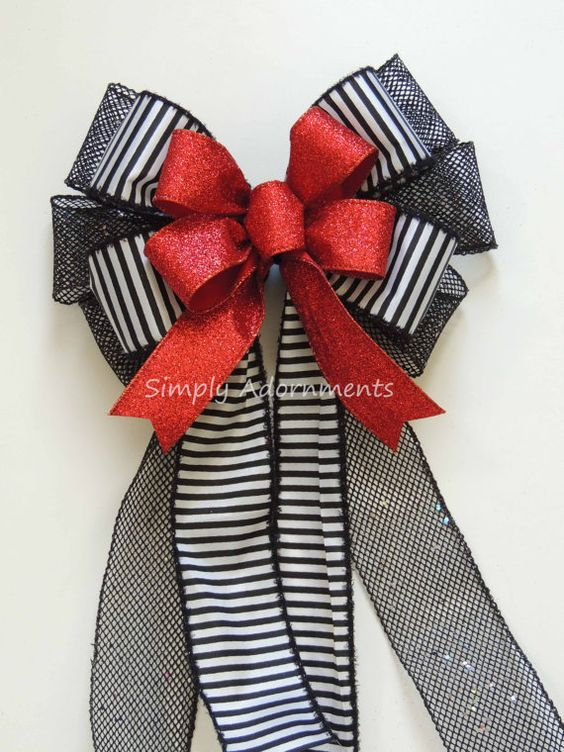 Red Black Nightmare Before Christmas Bow By SimplyAdornmentsss