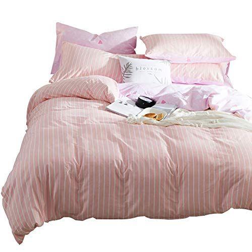 Ashanlan Ultra Soft Cotton Striped Print Pink White Duvet Cover