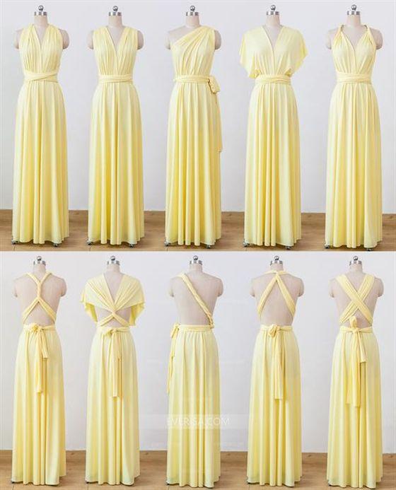 Yellow Convertable Dress Multiway Infinity Bridesmaids Dress Dress Yello Pastel Yellow Bridesmaid Dresses Yellow Bridesmaid Dresses Infinity Dress Bridesmaid