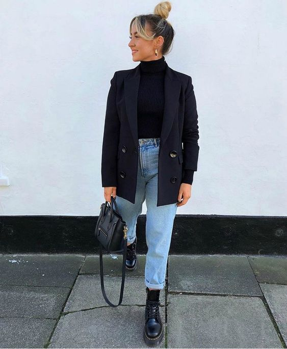 Black turtleneck, blazer light denim, and black accessories