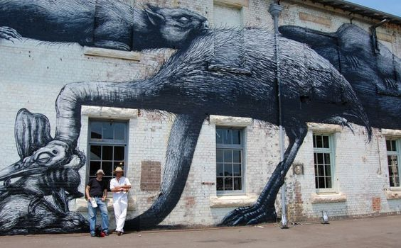 Title: Cockatoo Island Mural    Mural Approximate Location:  Cockatoo Island,  Port Jackson,  Sydney,  New South Wales 2090, Australia    Artist:Roa