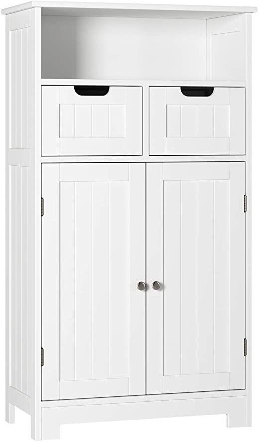 Homecho Bathroom Floor Cabinet Wood Towel Cabinet Free Standing Bathroom Linen Cabinet With 2 Do Bathroom Floor Cabinets Bathroom Linen Cabinet Linen Cabinet Storage cabinet with drawers and doors