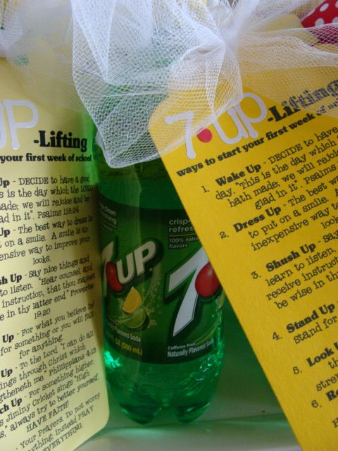 7-Up lifting ways to start your first week of school...or even a new job. Love this idea!
