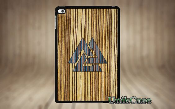 iPad Mini 4 case stand book wood triangle Real Blue par UnikCase1