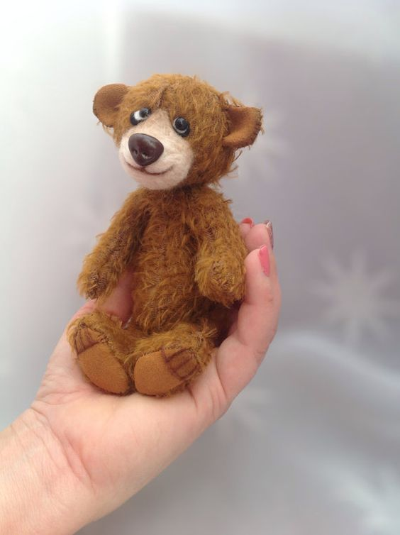 Brown Mohair teddy bear  handmade by LakeDistrictTeddies on Etsy