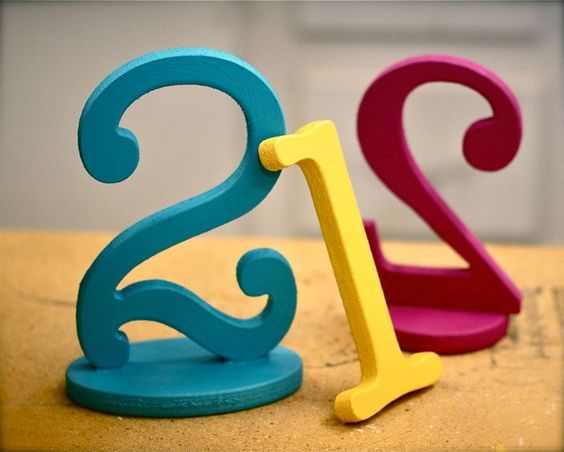 Wooden Table Numbers on Bases Handpainted for by ZCreateDesign