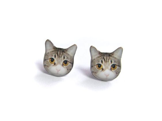 Cute Short-hair Yellow Eyes Cat Kitten Stud Earrings - A14E84   Made To Order
