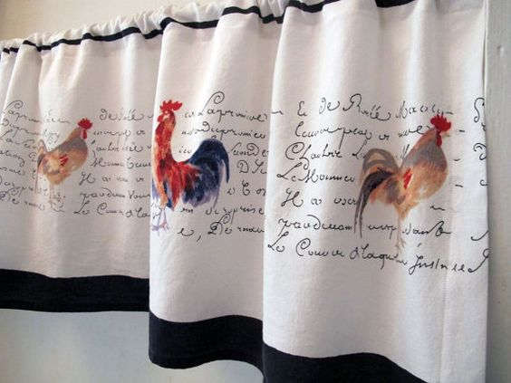 Kitchen Curtains chicken kitchen curtains : French Country Valance, Roosters Chickens Window Treatment ...