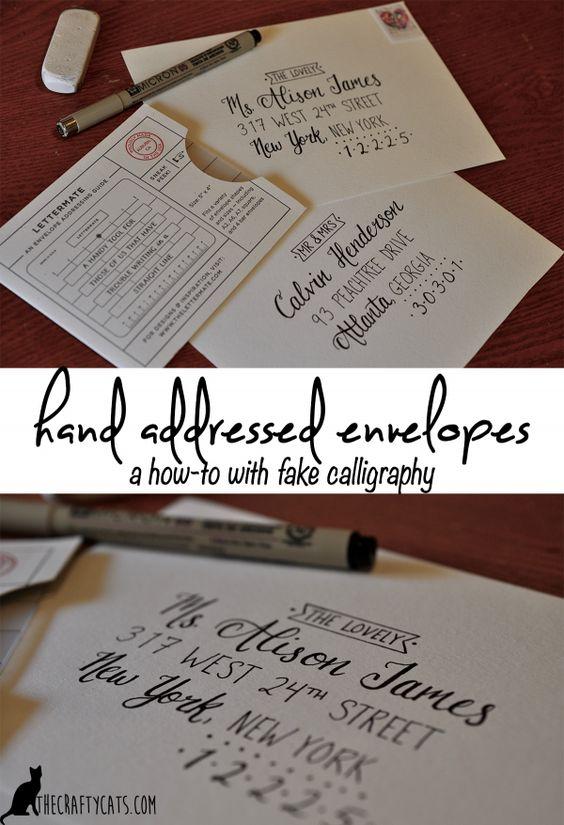 Charming Hand addressed envelopes using fake calligraphy