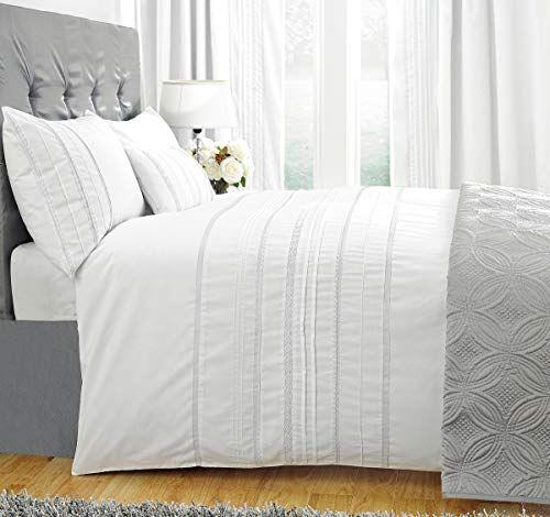 Zigguo Embellished Stripes White Duvet Cover King Delica Https Www Amazon Com Dp B07l6g White Duvet Cover Queen White Duvet Cover King White Duvet Covers
