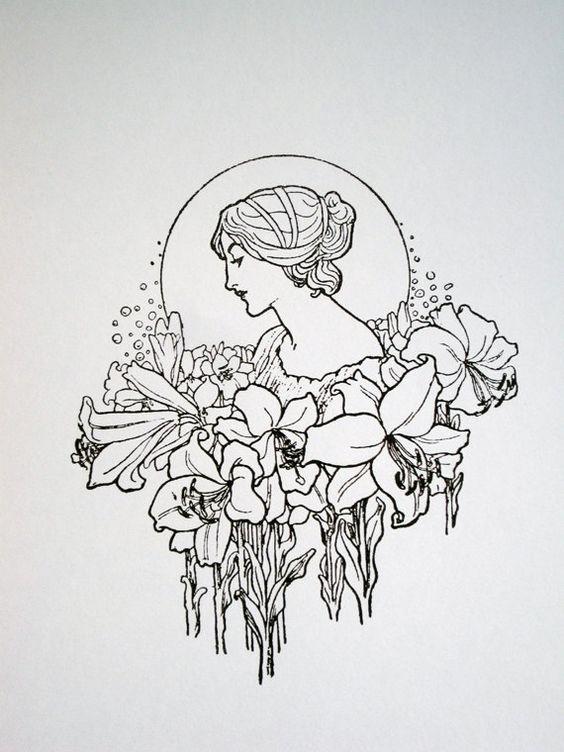 Art Nouveau Flower Tattoo: Art Nouveau : Lady With Flower Garland
