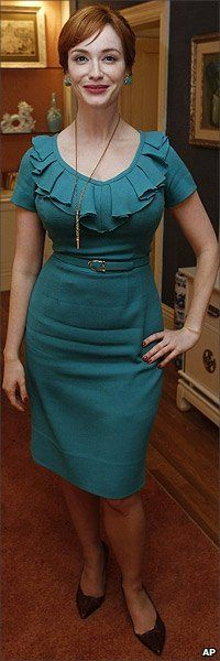 Christina Hendricks on the set of Mad Men. Size 14 has never been this sexy.