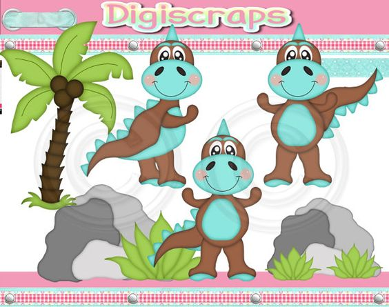 Lil Dino Boys Blue digital Clip Art Set  Clipart by Digiscrapsau, $2.00
