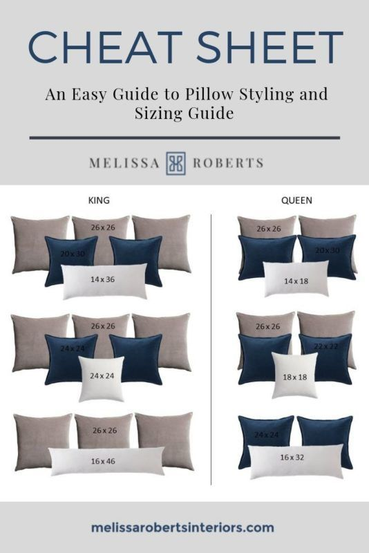 Decorative Pillows Pillow Sizing Chart Mix Match Pillow Combinations Master Bedrooms Decor Master Bedroom Makeover Bedroom Makeover