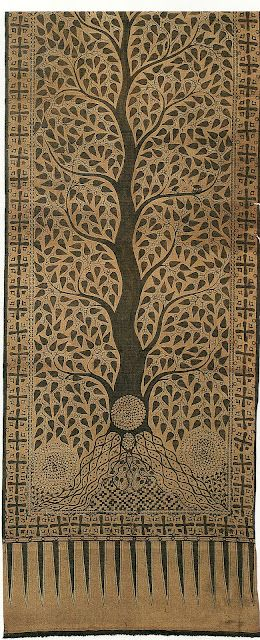 "monochromatic Indonesian cotton cloth.  __  ""After centuries of admiring and living with textiles imported from India, Indonesians incorporated Indian motifs into wares they produced at home. The block-printed piece shown here is the Toraja people's take on the tree of life."" -Courtney Barnes/Style Court"