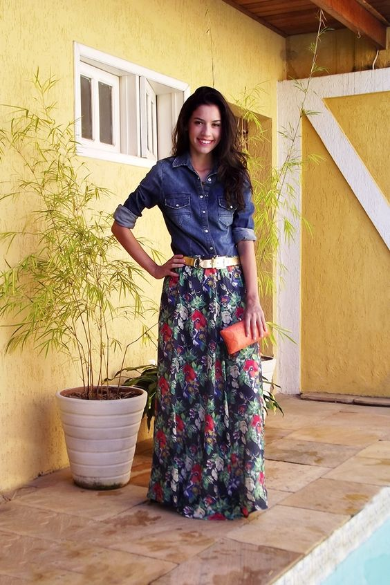 printed long skirt with denim shirt //// style fashion ...
