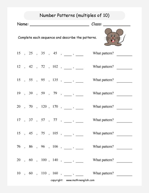 printable math worksheet | Grade 3 Math - Patterns ...