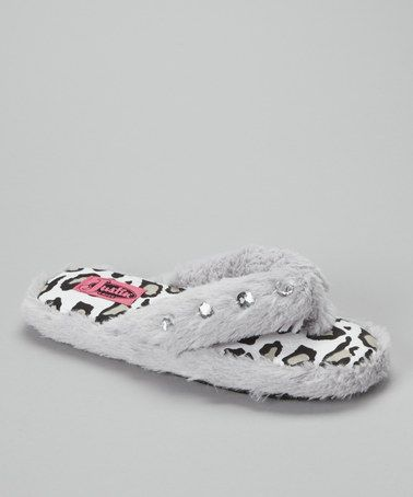 Take a look at this Gray Furry Crystal Flip-Flop Slipper - Women by Justin Boots Women & Men on @zulily today!