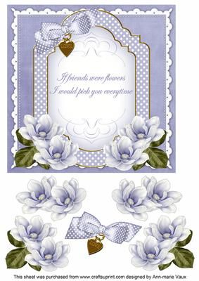 Blue Magnolia If Friends Fancy 7in Decoupage Topper on Craftsuprint - Add To Basket!