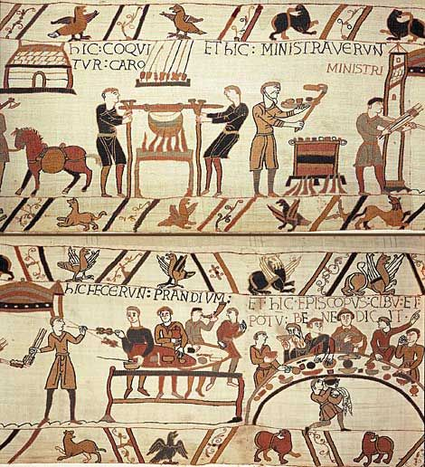 Image of a cook fire from the Bayeux Tapestry