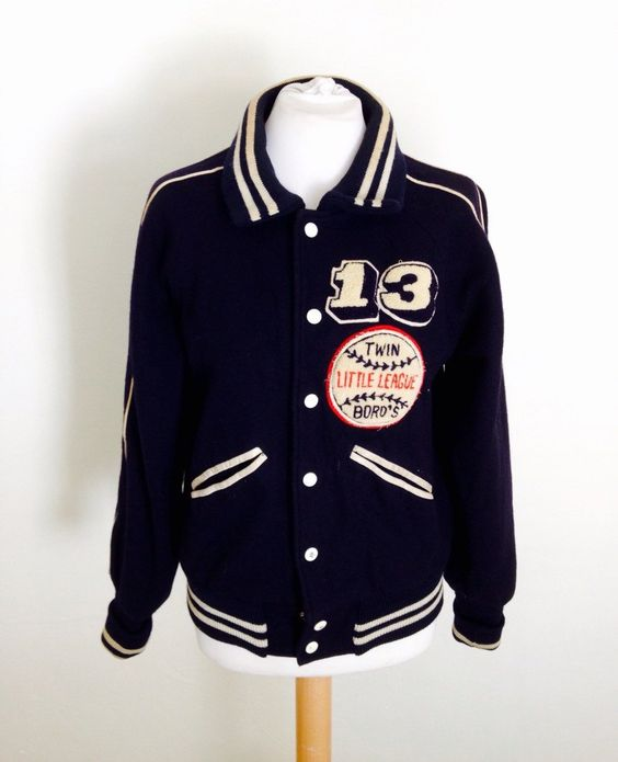 1960s Vintage Baseball Jacket. Number 13 Small Ladies Bomber
