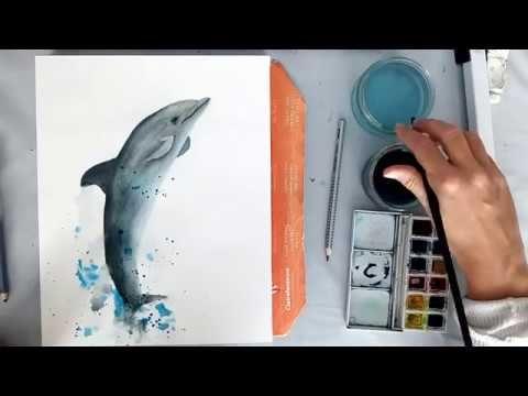 Comment Peindre Un Dauphin A L Aquarelle Tutoriel Debutant