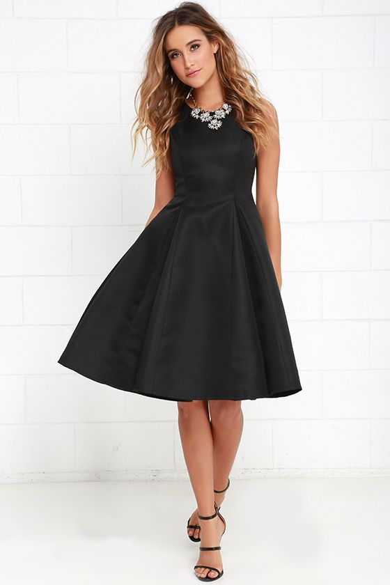 Everything She Does Black Midi Dress at Lulus.com!