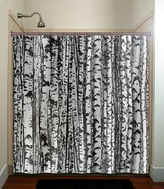 Misty shades of gray camo forest tree shower curtain bathroom ...