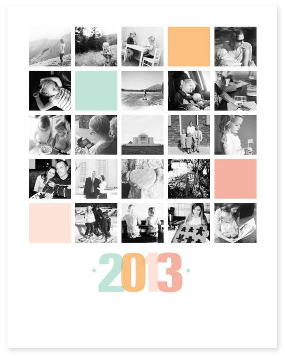 Collage für ein Fotobuch Yearly photo collage for framing. Templates available. #photography #display