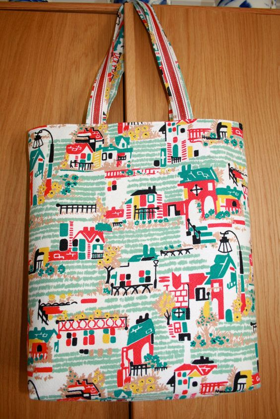Tote bag made from 1950s barkcloth fabric by SomethingPrized, £18.50
