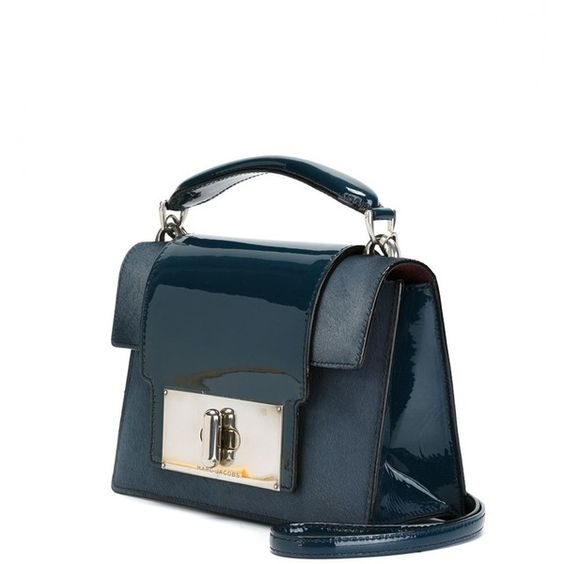 Marc Jacobs Mischief Tote (£1,625) ❤ liked on Polyvore featuring bags, handbags, tote bags, patent leather tote bag, patent leather tote, blue purse, marc jacobs handbags and blue patent handbag