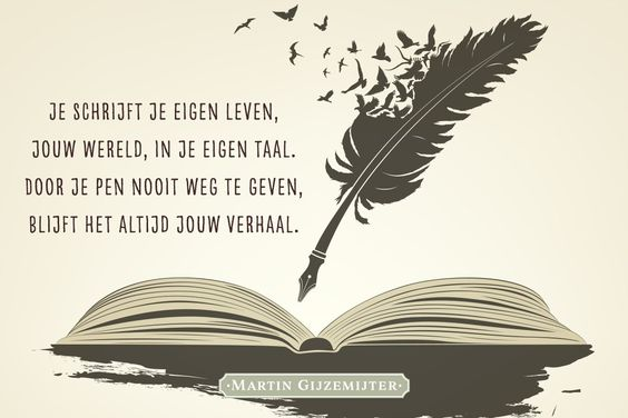 Gedicht over verhaal. Je schrijft je eigen leven, jouw wereld, in je eigen taal. Door je pen nooit weg te geven, blijft het altijd jouw verhaal.