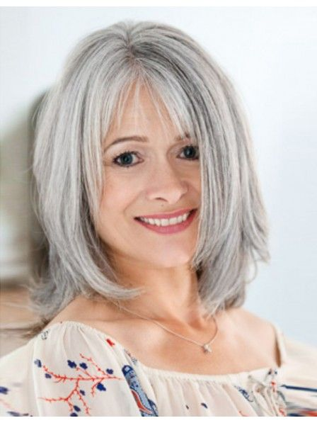Cute Medium Length Straight Bob Style Grey Wig With Bangs Grey Hair Wig Medium Layered Hair Hair Styles