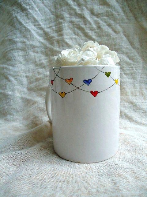 heartstrings hand painted mug coffee mugs pinterest