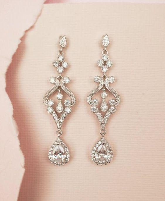 Vintage Earrings Wedding Jewelry Art Deco Bridal Earrings In Etsy In 2021 Wedding Earrings Vintage Bridal Earrings Art Deco Bridal Jewellery