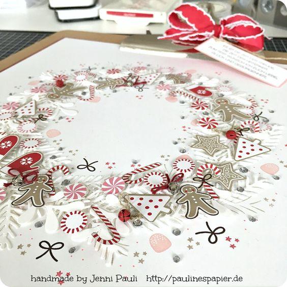 Stampin'Up! Zuckerstangenzauber DSP Kranz Weihnachten